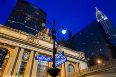 Facade of Grand Central Terminal at twilight in New York Stock Photos