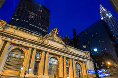 Facade of Grand Central Terminal at twilight in New York Stock Photography