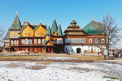 Facade of Great Wooden Palace in Kolomenskoe Stock Photos