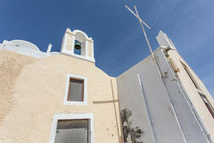 Facade of a Greek Orthodox church in Oia, Santorini (Thera), The Cyclades, Greece Stock Images