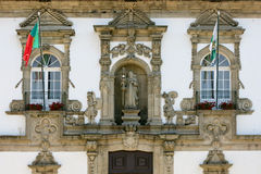 Facade of Guimaraes town hall, Portugal Stock Images