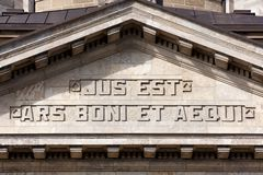 Slogan at the Supreme Court of Hamburg. The facade of the Hanseatisches Oberlandesgericht court building in Hamburg, Germany shows the famous definition of law Stock Images