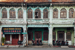 Facade of the heritage building, Penang, Malaysia Royalty Free Stock Photos