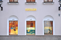 Facade of Hermes flagship store in Moscow Royalty Free Stock Photos