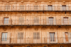 Facade of the Higher Square of Salamanca Royalty Free Stock Photography