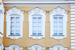 The facade of a historic building, designed in traditional old Russian style Stock Photos