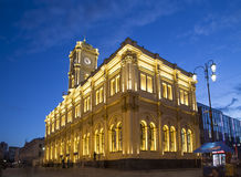 Facade historic building of the Leningradsky railway station night -- is one of the nine main railway stations of Moscow, Russia Stock Photos