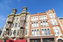 Facade of historic houses in the gaslamp quarter Stock Photo