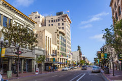 facade of historic houses in the gaslamp quarter Royalty Free Stock Photos