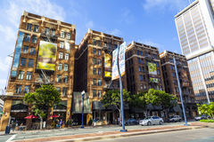 Facade of historic houses in the gaslamp quarter Royalty Free Stock Images