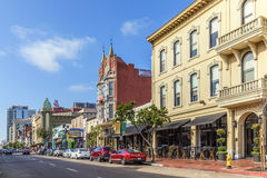 Facade of historic houses in the gaslamp quarter in San Diego Royalty Free Stock Images