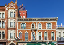 Facade of historic houses in the gaslamp quarter in San Diego Stock Photography