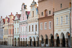 Facade of historic houses in Telc, Czech Republic Stock Images