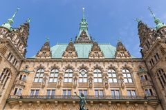 Facade historic town hall in Hamburg, Germany Royalty Free Stock Photography