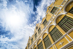 Facade of historical building Punda Curacao. Photograph of the facade of the famous Penha department store in Willemstad, Punda, Curacao, Netherlands Antilles Royalty Free Stock Photography