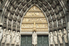 Facade of historical gothic cathedral in cologne. stock photography