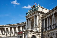 Facade of Hofburg Palace. On Hero`s Square Heldenplatz in Vienna, Austria. The square lies in front of the Hofburg palace Stock Image