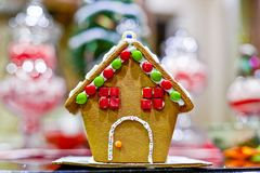 Facade of home ade gingerbread house. At christmas time royalty free stock images