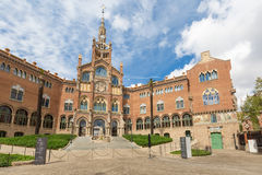 Facade of Hospital de la Santa Creu i Sant Pau in Barcelona royalty free stock photo