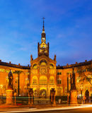 Facade of Hospital de Sant Pau in evening Royalty Free Stock Photography