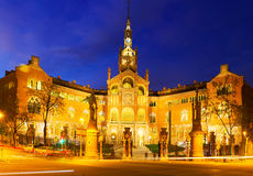 Facade of Hospital de Sant Pau in night Royalty Free Stock Photo