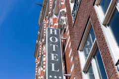 Facade  hotel in Amsterdam, The Netherlands Royalty Free Stock Photos