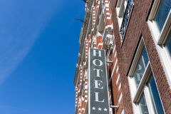 Facade  hotel in Amsterdam, The Netherlands Royalty Free Stock Photography