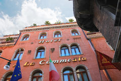 Facade of the hotel A La Commedia in Venice, Italy Stock Photo