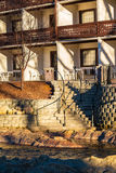 Facade of hotel and stairs on embankment, Helen, USA Stock Images