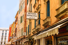 Facade of the hotel in Venice, Italy Stock Image