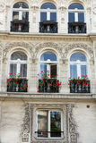 Facade of  house with balcony in Montmartre. Paris Royalty Free Stock Photos