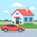 Facade house with a car. Facade of the house with a car. Traditional cottage in the suburbs. Vector illustration in a flat style Royalty Free Stock Images