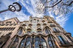 The facade of the house Casa Battlo in Barcelona Stock Images