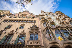 The facade of the house Casa Battlo in Barcelona. The facade of the house Casa Battlo designed by Antoni Gaudi, Barcelona, Spain Royalty Free Stock Images
