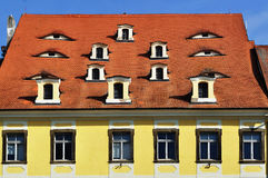 Facade of the house in Cheb town, Czech Republic Stock Images