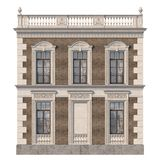 Brick facade of a classic-style house with niche and windows in light colors. 3d rendering. The facade of the house in the classical style of brown brick with stock illustration