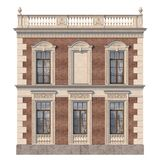 Brick facade of a classic-style house with niche and windows in light colors. 3d rendering. The facade of the house in the classical style of red brick with vector illustration