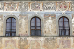 Facade of house is decorated with fresco in florence, toscany, i Stock Photos