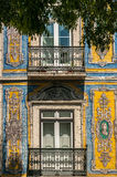 Facade of a house decorated with tiles in Portugal. Facade of a house decorated with tiles in Lisbon, capital of Portugal Stock Photography