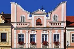 Facade of the house in Domazlice town Royalty Free Stock Photo