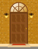 Facade of house with door. Beautiful illustration for a design Royalty Free Stock Images