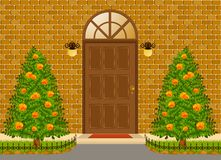 Facade of house with door and flowerbeds. Stock Photography