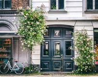 Facade of a house in the historic quarter of Copenhagen, a door,. A bicycle, rose bushes, an image with retro toning Royalty Free Stock Photo