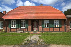 Facade of house listed as monument at Jager, Mecklenburg-Vorpommern, Germany.  stock photo