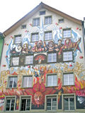 The facade of a house in Lucerne Stock Photo