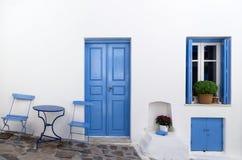 Facade of a house in Milos island, Cyclades, Greece Stock Image