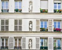 The facade of a house in Montmartre Stock Photos