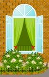 Facade of house with open window Stock Photos