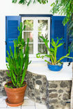Facade of the house with plants Santorini Greece Royalty Free Stock Photos