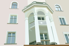 Facade of house with white columns. Image facade of house with white columns vector illustration